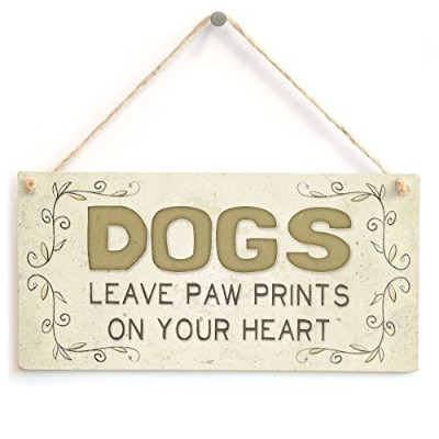 """meijiafei犬Leave Paw Prints On Your Heart–美しいホームアクセサリーギフトSign 10"""" x5"""""""