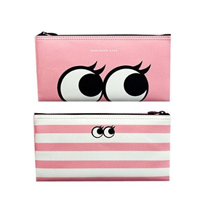 Marianne Kate 正品 Style Eyes Pencil Pouch ペンケース/化粧 ポーチ メイク コスメ 小物入れ 4色-Pink [並行輸入品]