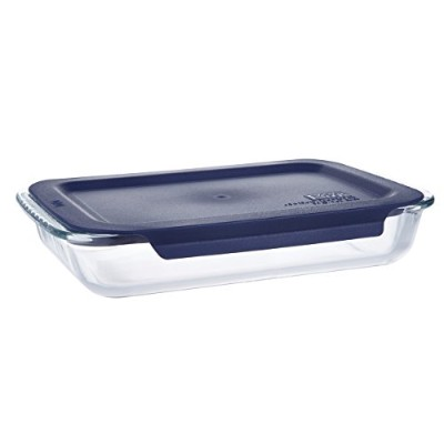 1.4l Glass Bakeware Ovenware Oblong Baking Dish with Blue Plastic Lid - 20cm x 30cm