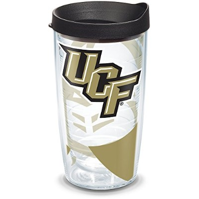 Tervis 1289776UCF Knights Tumbler with Wrap andブラック蓋、16オンス、クリア