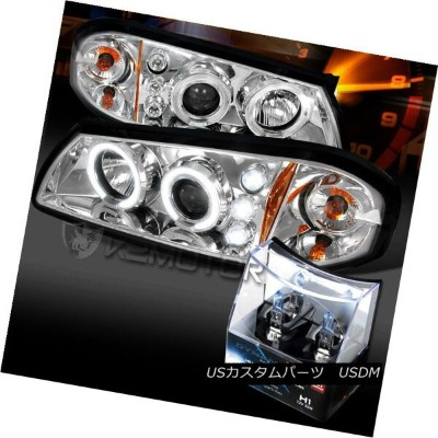ヘッドライト 00-05 Chevy Impala Chrome Halo LED Projector Headlights+H1 Halogen Bulbs 00-05シボレーインパラクロームハロー...
