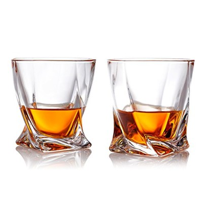 300ml Twist Design Clear Glasses Old Fashioned Whiskey Tumblers, Set of 2