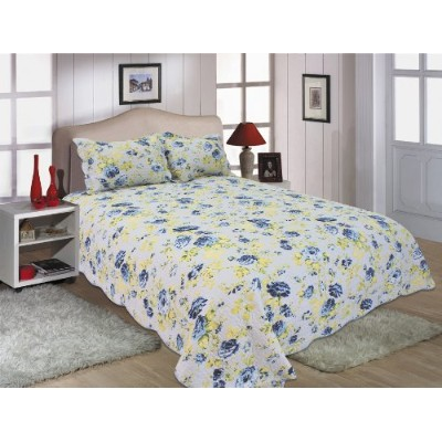 All for Youのリバーシブルベッドスプレッド3点セット カバーレット キルトセット 青と黄色の花柄  Larger King with King size pillow shams 512...