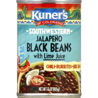 Kuner's Black Beans Jalapeno, 15-ounces can (Pack of 12) by Kuner's