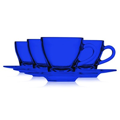 "Libbey Colored Glassエスプレッソカップ1.75 Oz and Libbey 4 – 5 / 8 ""ガラスEspresso Saucer – Set of 4 Plates and..."