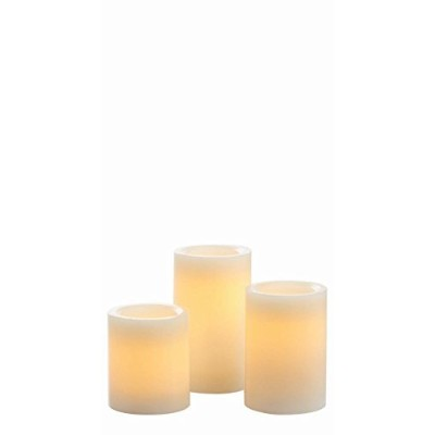 Candle Impressions 3- Pack of Flameless Wax Pillars W / 5時間タイマー、クリーム