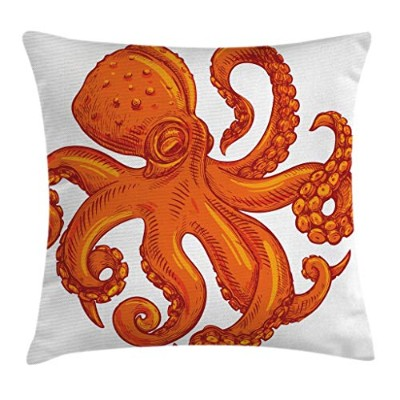 Octopusスロー枕クッションカバーby Ambesonne、Octopus Pattern Illustration Underwater World Wild Natureテーマアートワーク印刷...