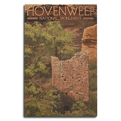 Hovenweep National Monument、コロラド–正方形タワー 10 x 15 Wood Sign LANT-55647-10x15W