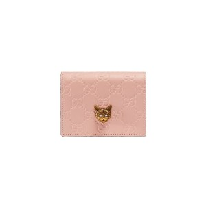 Gucci Gucci Signature card case with cat - ピンク