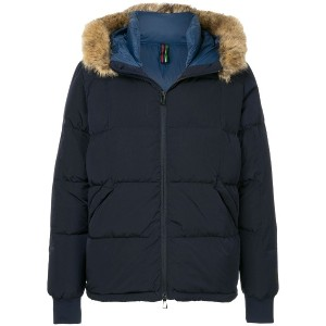 Ps By Paul Smith fur trim padded jacket - ブルー