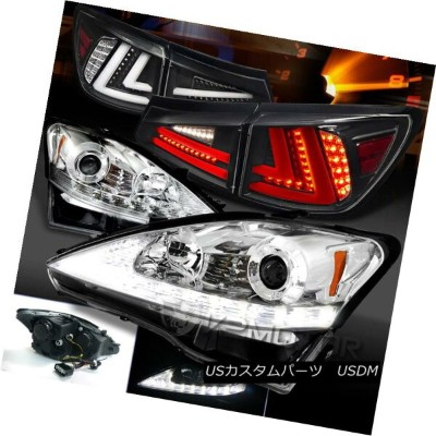 ヘッドライト 06-08 Lexus IS250 Clear LED DRL Signal Projector Headlights+Black LED Tail Lamps 06-08 Lexus...