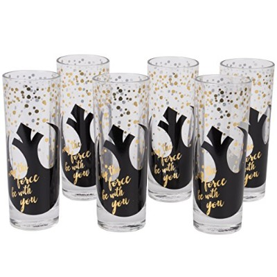 STAR WARS Highball Glasses , Set of 6 – キュートpinacheデザインwith May The Force Be With You AndブラックRebel...