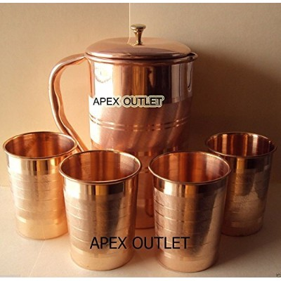 ApexコンセントPure CopperピッチャーAyurveda銅Pitcher with Lid銅水水差し銅ピッチャーset|銅Pitcher withタンブラー銅水差しセット銅水水差しとガラス...