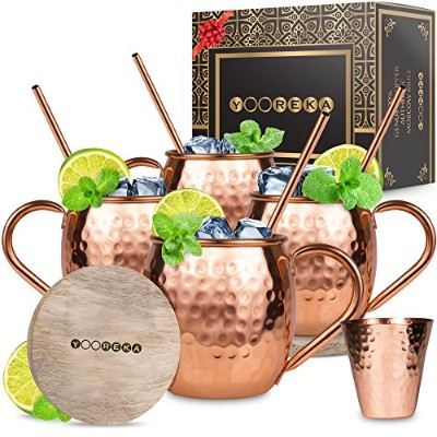 Moscow Mule Copper Mugs Set : 4 470ml Solid Genuine Copper Mugs Handmade in India, 4 Straws, 4 Wood...