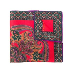 Etro paisley print pocket square - レッド