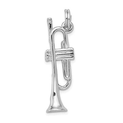 Beautiful Sterling silver 925 sterling Sterling Silver Rhodium-platedPolished Trumpet Charm comes...