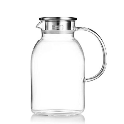 (2220mls) - JIAQI Glass Pitcher with Stainless Steel Lid, Hot/Cold Water Jug, Juice and Iced Tea...