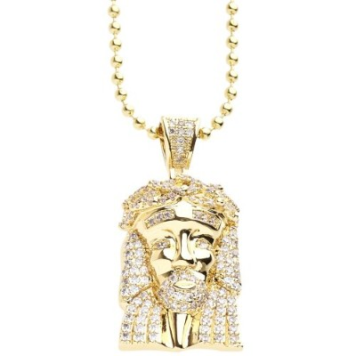 Iced Out Bling Micro Pave Chain - MINI JESUS ゴールド