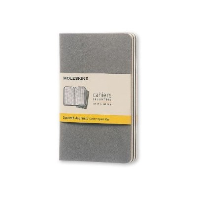 Moleskine Cahier Journal (Set of 3), Pocket, Squared, Pebble Grey, Soft Cover (3.5 x 5.5) (Cahier...