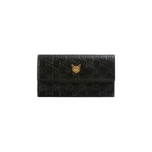 Gucci Gucci Signature continental wallet with cat - ブラック