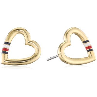 [女性用イヤリング]Tommy Hilfiger Women's Gold-Plated Stainless-Steel Open Heart Stud Earrings[並行輸入品]