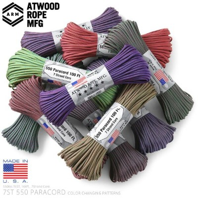 【20%OFFクーポン対象】ATWOOD ROPE MFG. アトウッド・ロープ 7Strand 550Lbs パラコード 100フィート COLOR CHANGING PATTERNS MADE...
