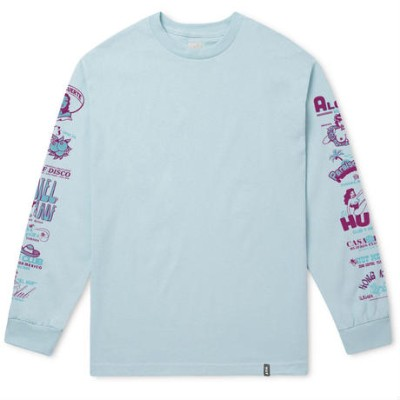 HUF Collage L/S T-Shirt Ballad Blue M Tシャツ 送料無料