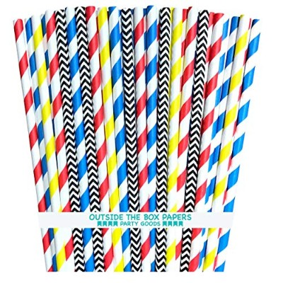 Outside the Box Papers Superhero Theme Chevron and Striped Paper Straws 7.75 Inches Red, Blue,...