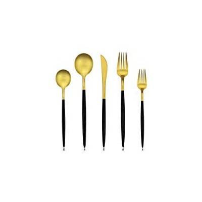 AOOSY Royal 20 Piece Matte Black Handle and Gold 18/10 Stainless Steel Tableware Sets for 4...