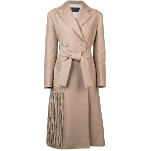 Proenza Schouler Chenille Embroidered Long Belted Coat - ブラウン