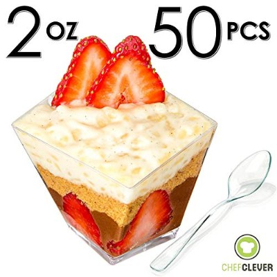 Mini Dessert Cups, Funky Appetiser Bowls with Spoons, FREE Recipe e-Book [Clear Plastic, 60ml,...