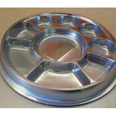 Silver 9 Compartment Disposable Plastic Plate (Thali) - 50 Plates by Namaste India