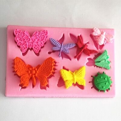 Longzang Butterfly Dragonfly Beetle Decoration Pattern Art Deco Silicone Mould Sugar Craft DIY...
