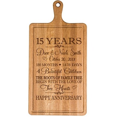 Personalized 15th年記念日のギフト彼女妻夫Couple Cheese Cutting BoardでカスタマイズYear Established日付to Remember for...