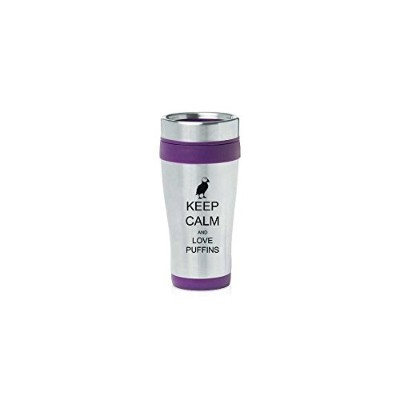 Purple 470ml Insulated Stainless Steel Travel Mug Z1271 Keep Calm and Love Puffins