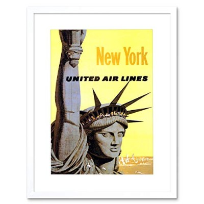 United Airline Statue Liberty New York Ad Picture Framed Wall Art Print 航空会社像自由ニューヨーク画像壁