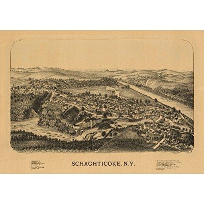 Schaghticoke、ニューヨーク–パノラマMap 36 x 54 Giclee Print LANT-9446-36x54