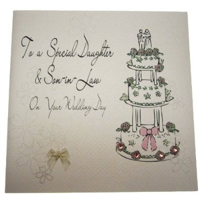 white cotton cards Code XLBd2 To A Special Daughter and Son-in-Law on Your Wedding Day Handmade...