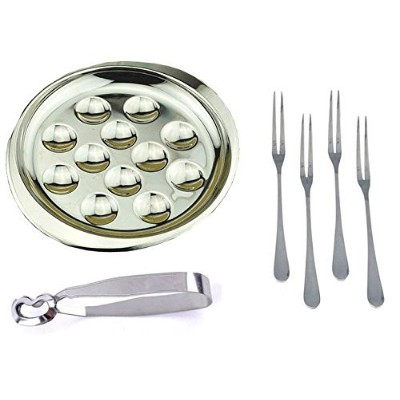 MBB Escargot Dining Set 12 Compartment Holes Snail Plate Tong 4 Forks Stainless Steel