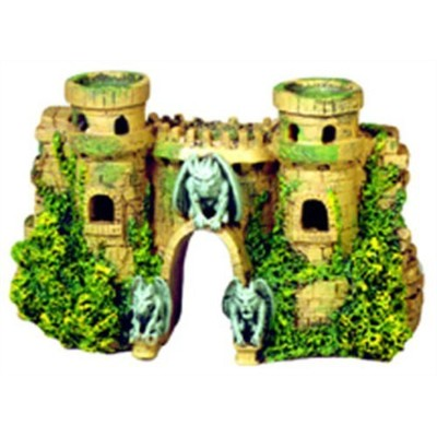 Exotic Environments Castle Fortress with Gargoyles Aquarium Ornament, 10-Inch by 3-1/2-Inch by 5-1...