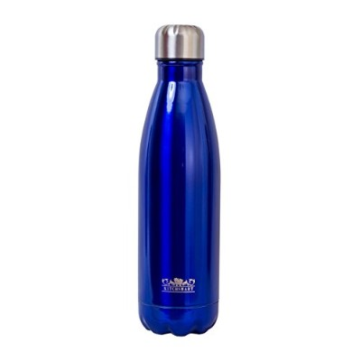 (Blue) - 18/8 304 Stainless Steel, Double Wall, Vacuum Insulated, Cola Shaped Sports Water Bottle...