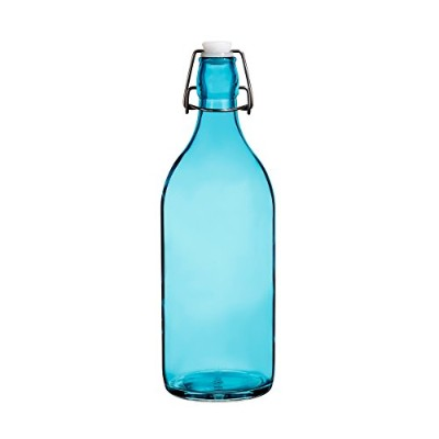 (Round, Ocean Blue) - Colourful Reusable Glass Water Bottles With Swing Top Leakproof Cap, 1L1010ml...