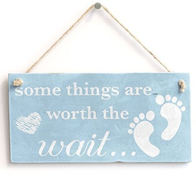 "meijiafei Some Things Are Worth The Wait。。。Baby Boy – ヴィンテージPVC Sign / Plaque 10 "" x5 """