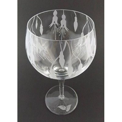 incisoart手エッチングイタリアCrystal Goblet Sandblasted (砂Carved) ハンドメイドワイン水ガラスEngraved Fuchsia Flower Leaves...