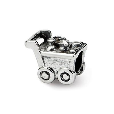 Beautiful Sterling silver 925 sterling Sterling Silver Reflections Kids Shopping Cart Bead comes...