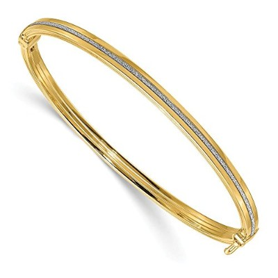 Beautiful Yellow gold 14K Yellow-gold Leslie's 14K Polished Glimmer Infused Hinged Bangle comes...