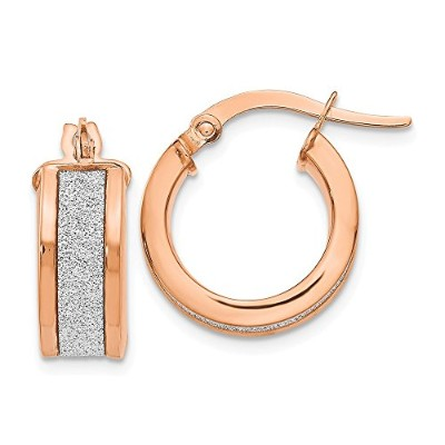 Beautiful Rose gold 14K Leslie's 14k Rose Gold Glimmer Infused Hinged Hoop Earrings comes with a...