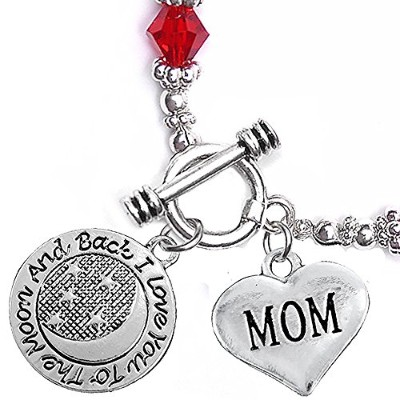 MOM, I love you to the Moon and Back、レッドクリスタルチャームブレスレット、低刺激性、安全、ニッケル、鉛、&カドミウムフリー。