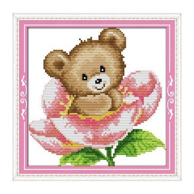Joy日曜日クロスステッチキット、The Little Bear In Flower 11CT Counted K839-2