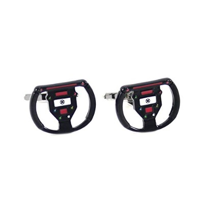 mendepotノベルティRacing Sports Car Steering Wheel Cufflinks With Gift Box